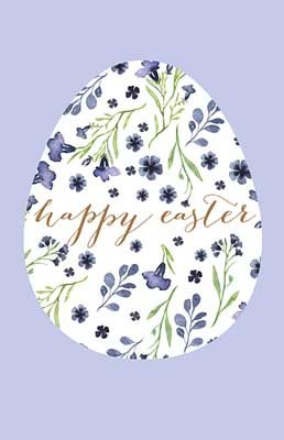 Purple Happy Easter Floral Egg Card