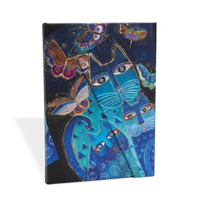 Blue Cats & Butterflies Midi Lined (Hardback)