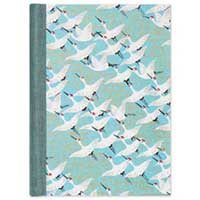 Notebook Lined Cranes On Blue