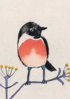 Stonechat Dry Point and Watercolour