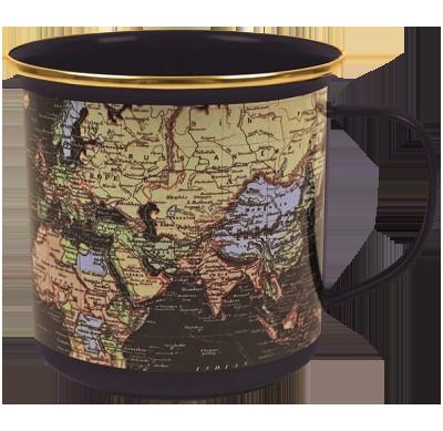 Map Of The World Blue Enamel Mug