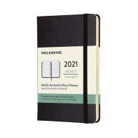 Black Pocket Horizontal Weekly Hard Diary 2021
