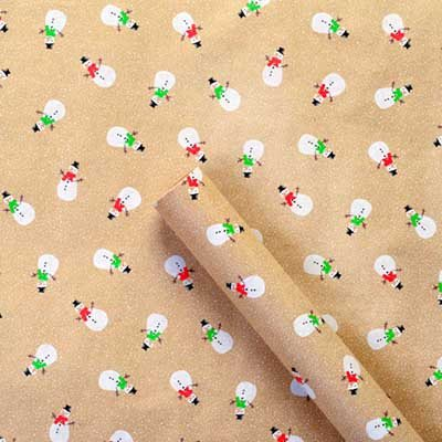 Snowmen Kraft Wrapping Paper: Rollwrap 3M