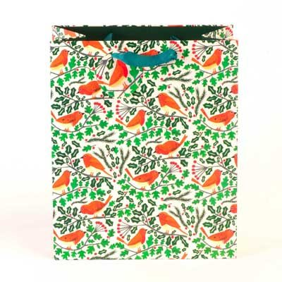 Robins And Holly Medium Gift Bag