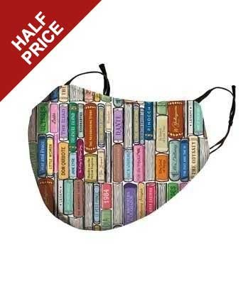 Book print washable face mask