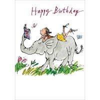 Elephant and Girl Birthday Card