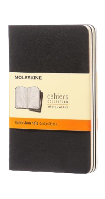 Moleskine Ruled Cahier - Black Cover (3 Set)