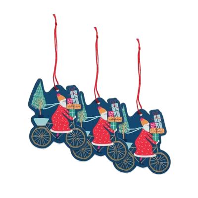 Santa On Bike Gift Tag Pack