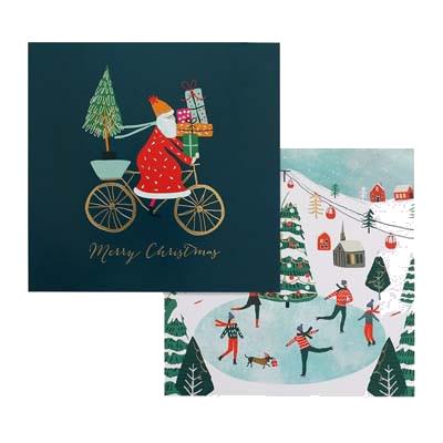 Santa On Bike Christmas Charity Card Pack