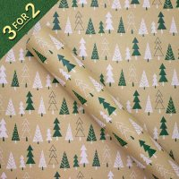 Green and White Trees on Kraft 3M Roll Wrap