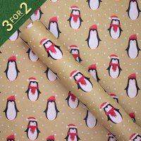 Penguins on Kraft 3M Roll Wrap