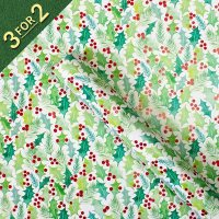 Holly and Foiled Berries 3m Roll Wrap